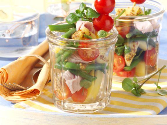 Potato and Bean Salad with Watercress and Smoked Ham