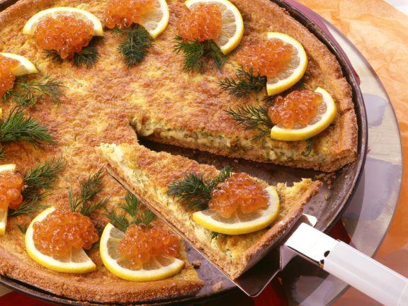 Potato and Onion Tart with Salmon Caviar