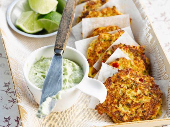 Potato and Shrimp Pancakes with Cucumber Dip