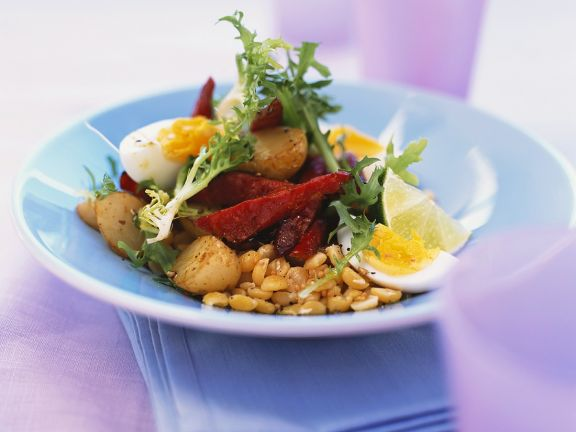Potato, Beet and Chickpea Salad with Hard-boiled Eggs