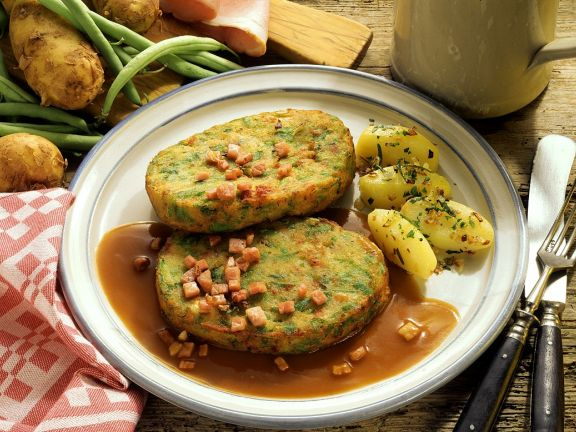 Potato, Ham and Green Bean Patties with Sides