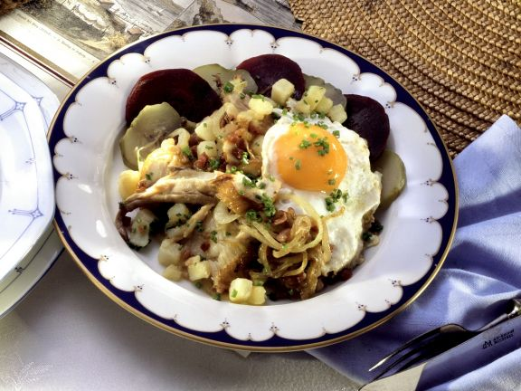 Potato Hash with Smoked Fish and Fried Egg