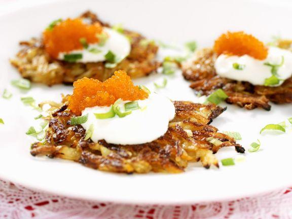 Potato Pancakes with Sour Cream and Caviar