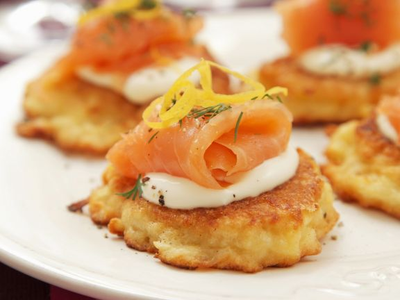 Potato Patties with Sour Cream and Smoked Salmon