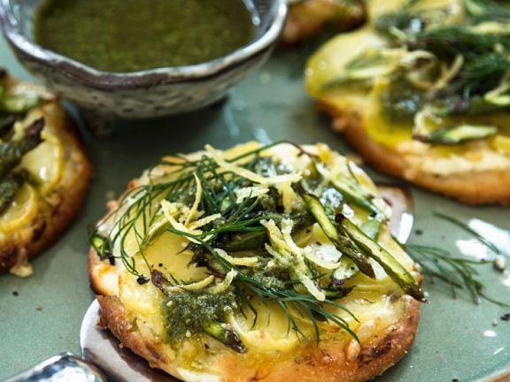 Potato Pizzettas with Green Asparagus