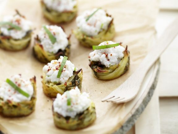 Potato Tartlets with Sorrel and Crab