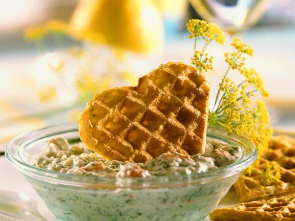 Potato Waffles with Zucchini Tzatziki