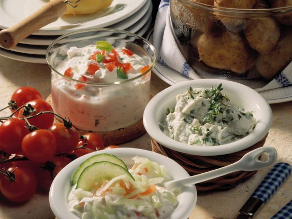 Potatoes with Assorted Dips