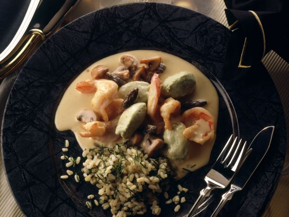 Prawn and Mushroom Stew with Pike Dumplings