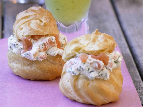 Profiteroles with Smoked Salmon and Dill Cream Filling