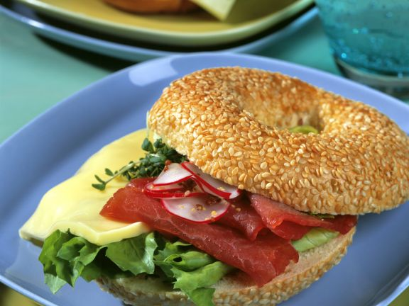 Prosciutto and Cheese Bagel Sandwich