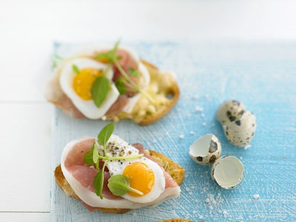 Prosciutto and Quail Egg Toast