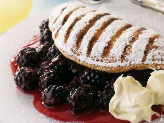 Pudding Omelettes with Blackberries