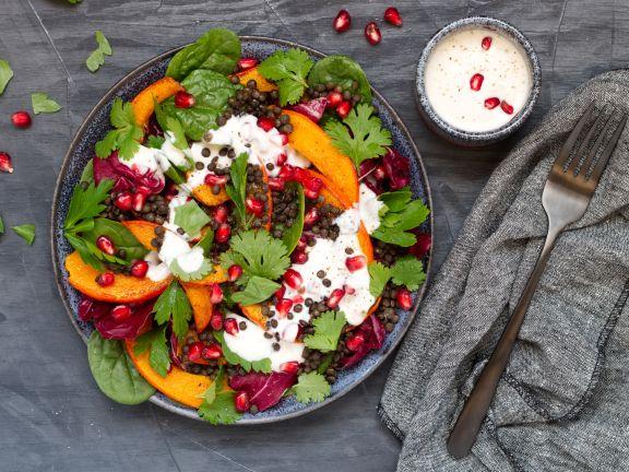 Pumpkin and Lentil Salad with Yogurt Dressing