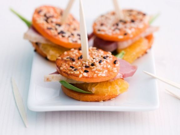 pumpkin canapes with smoked duck breast recipe eat. Black Bedroom Furniture Sets. Home Design Ideas