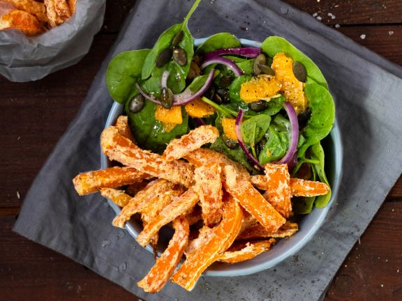Pumpkin Fries with Spinach Salad