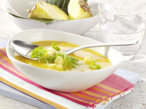Pumpkin Soup with Pineapple and Snow Peas