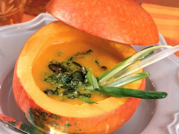 Pumpkin Soup with Pumpkin Seed Pesto