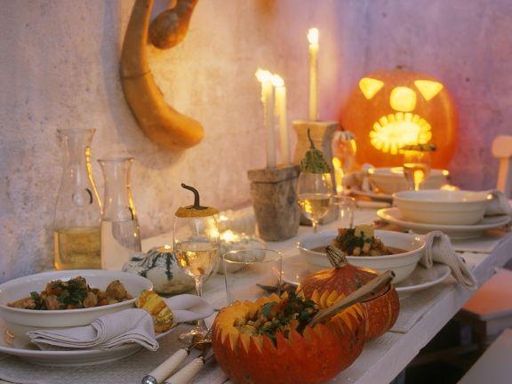 Pumpkin Stew Served in Pumpkins