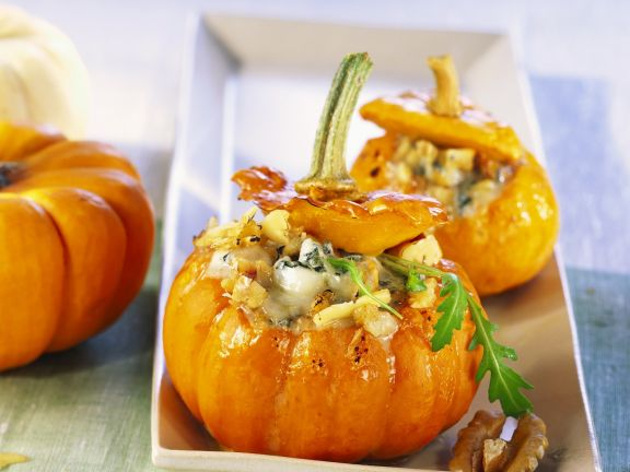 Pumpkins Stuffed with Walnuts and Blue Cheese