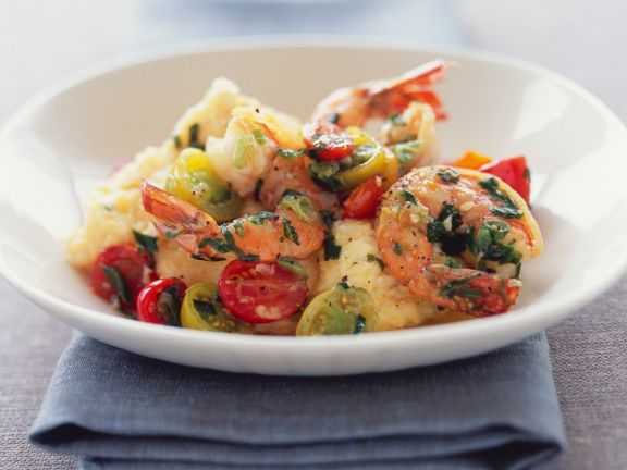 Quick Polenta with Shrimp and Tomatoes