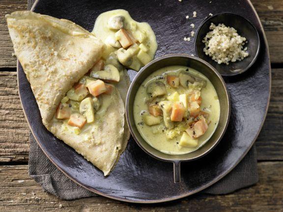 Quinoa Pancakes with Vegetable & Mushroom Ragout