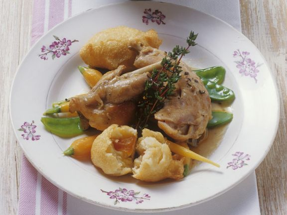 Rabbit in White Wine Sauce with Apricot Fritters