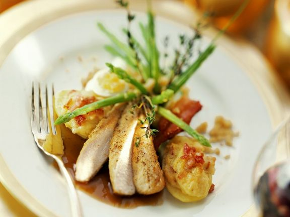 Rabbit with Stuffed Sweet Potatoes and Vegetables