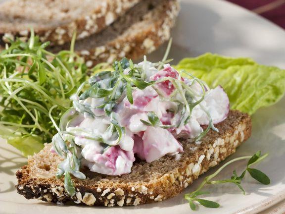 Radish Quark on Multigrain Bread
