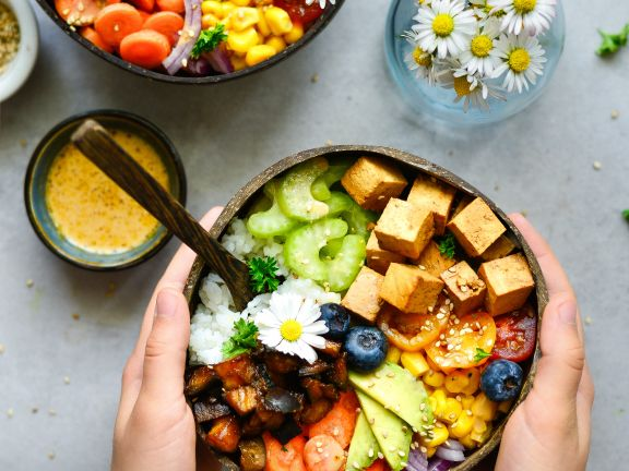 Rainbow Buddha Bowl with Teriyaki Tofu