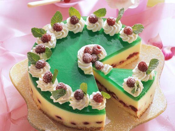 Raspberry Cream Cake with Woodruff Jelly