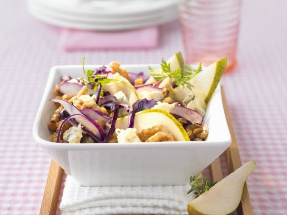 Red Cabbage and Pear Salad with Lentils