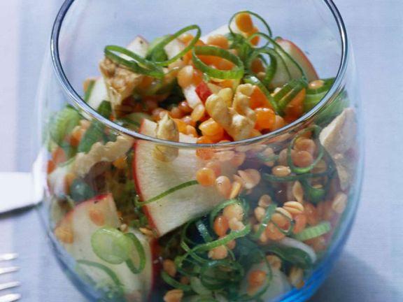Red Lentil, Apple and Scallion Salad