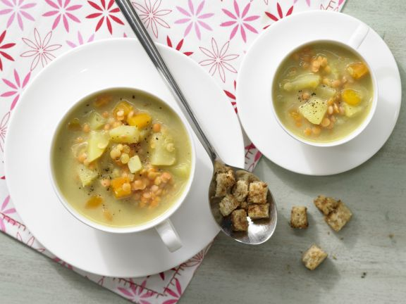 Red Lentil Soup with Croutons
