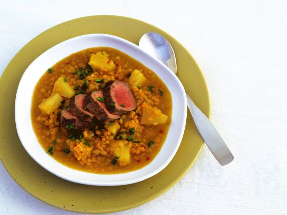 Red Lentil Soup with Lamb Fillet