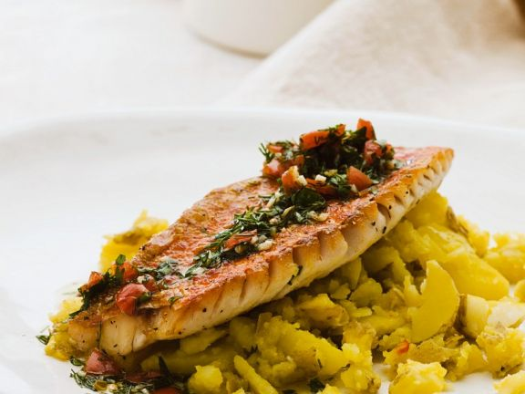 Red Mullet with Saffron Potatoes and Tomato Salsa