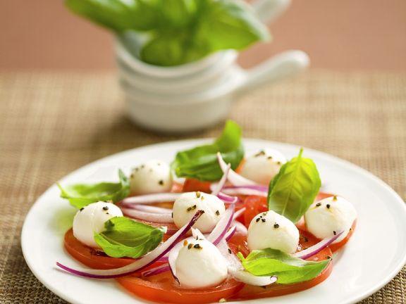 Red Onion, Basil, Tomato, and Mozzarella Salad