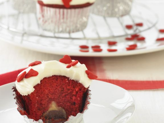Red Velvet Cupcakes with Truffle Centers