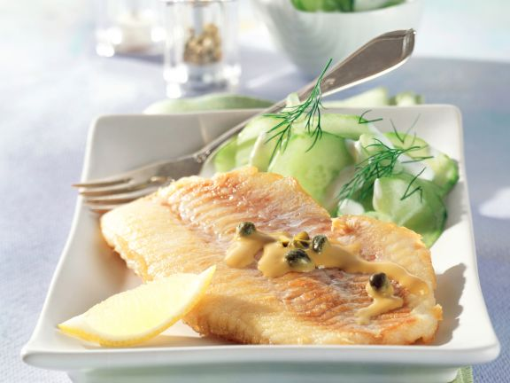 Redfish Fillets with Mustard and Caper Sauce and Cucumber Salad
