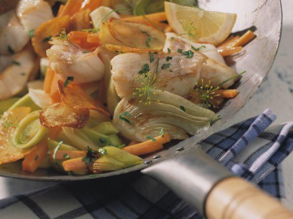 Redfish over Stir-Fried Vegetables