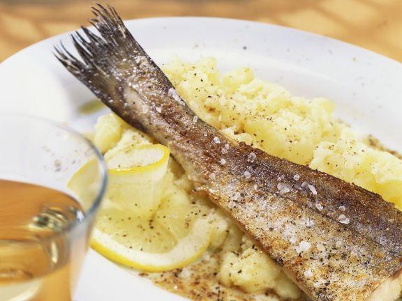 Redfish with Greek Potato-garlic Puree