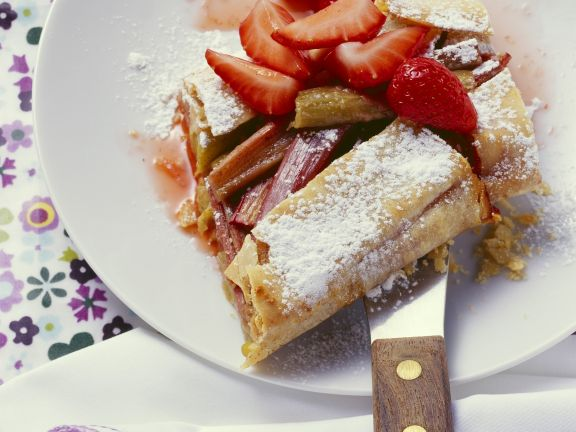 Rhubarb and Strawberry Strudel