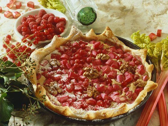 Rhubarb, Currant, and Walnut Tart