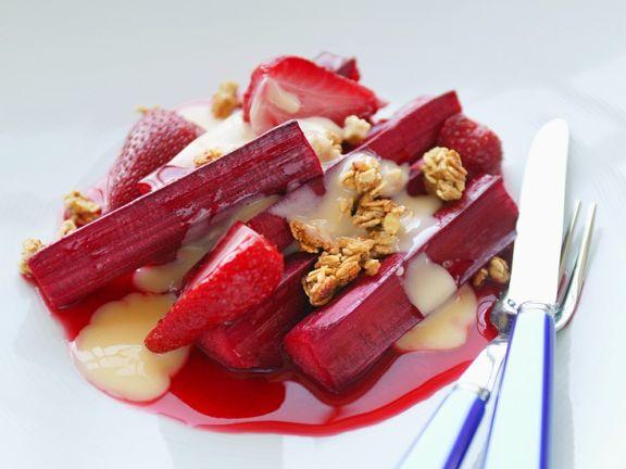 Rhubarb Dessert with Strawberries and Custard