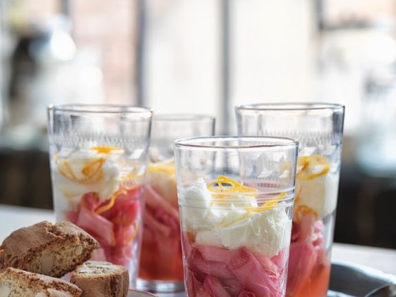 Rhubarb with Cream in Glass