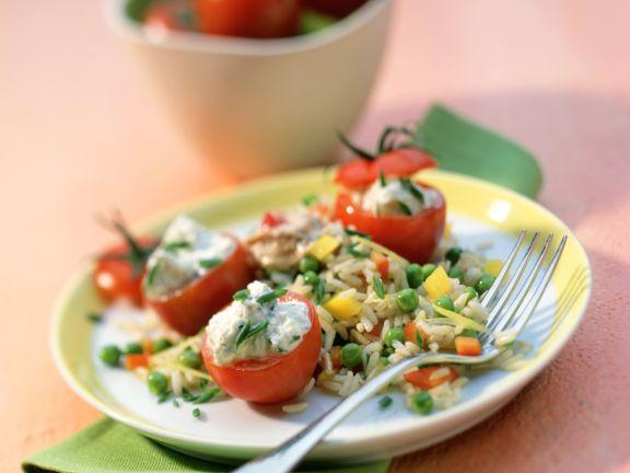 Rice and Tuna Salad with Stuffed Cherry Tomatoes
