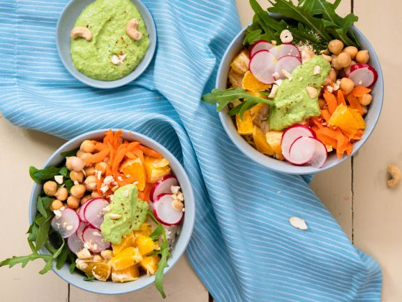 Rice Bowl with Chickpeas and Cashew Sauce