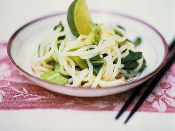 Rice Noodles with Bok Choy