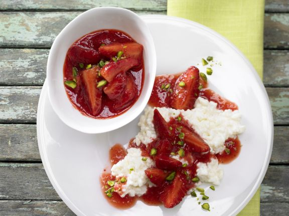 Rice Pudding with Strawberry Sauce