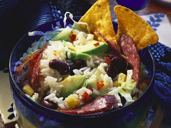 Rice Salad with Avocado, Beans and Salami